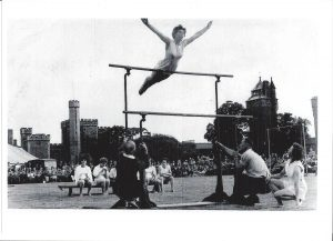 Majorie performing at Cardiff Castle in 1952 to raise money to get the gymnastics team to the Olympics